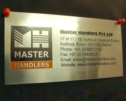 stainless steel name plates with company logo